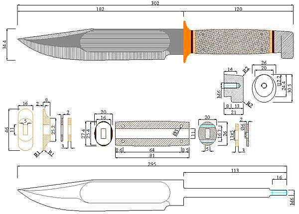 Чертеж ножа A.G.Russell-Field knife