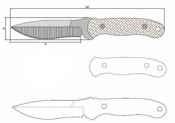 Чертеж ножа Black Locust