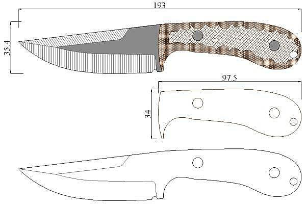 Чертеж ножа Brock-Combat options