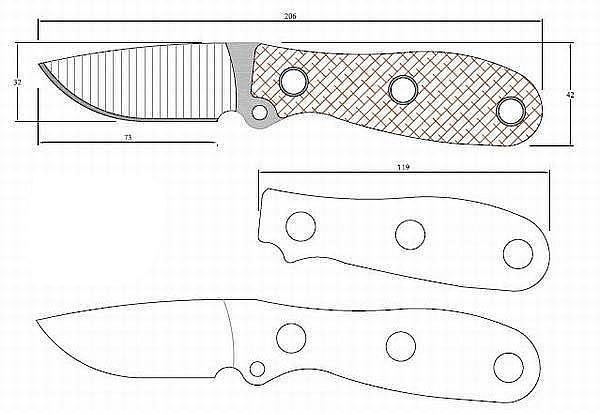 Чертеж ножа Busse mini