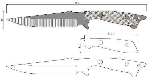 Чертеж ножа Busse-Shark