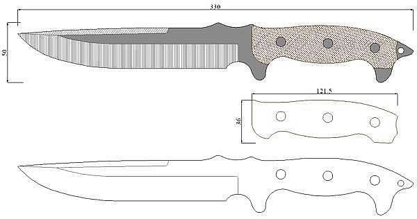 Чертеж ножа Busse-Urgent Fury