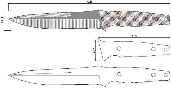 Чертеж ножа Camillus Cuda CQB