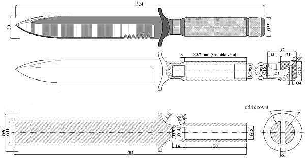 Чертеж ножа Chris Reeve-Project I