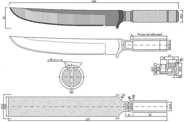 Чертеж ножа Chris Reeve-Sable I