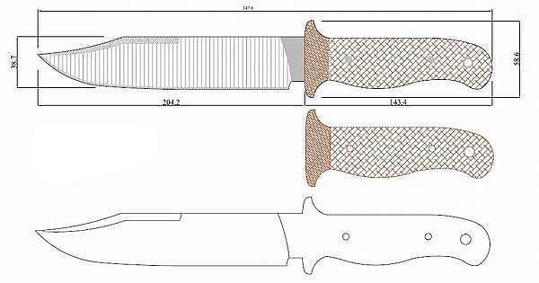 Чертеж ножа Coldsteel-bush ranger