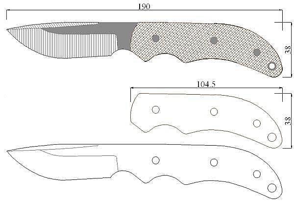 Чертеж ножа Colt Ridge Runner Skinner