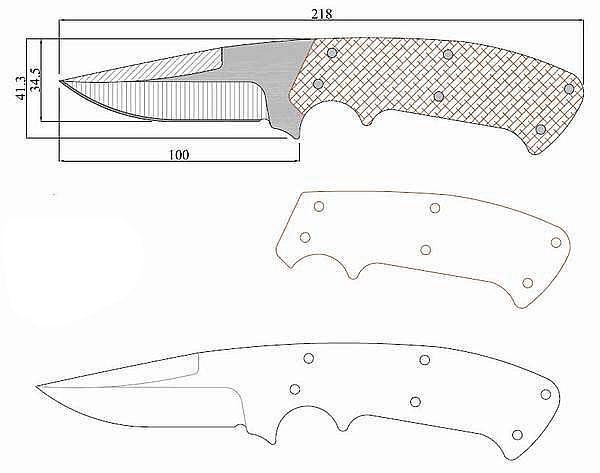 Чертеж ножа CRKT kasper