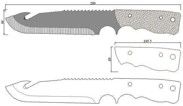 Чертеж ножа Dark-Special survival knife