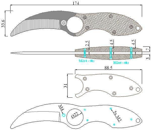Чертеж ножа FOX