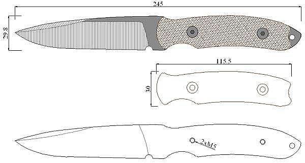 Чертеж ножа Gerber-Yari