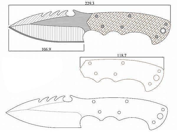 Чертеж ножа Gill hibben-negotiator 2