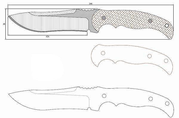 Чертеж ножа H.A.K