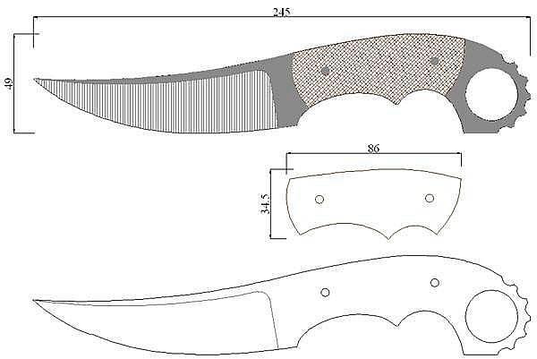 Чертеж ножа Jens Anso Custom