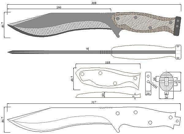 Чертеж ножа John Carison-MP SAR