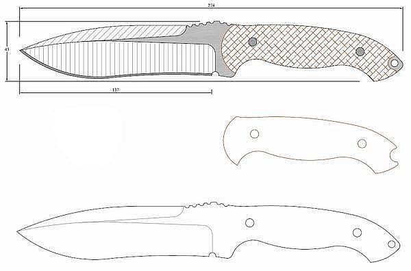 Чертеж ножа Kingpin