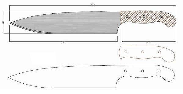 Чертеж ножа Kuchynsky 1