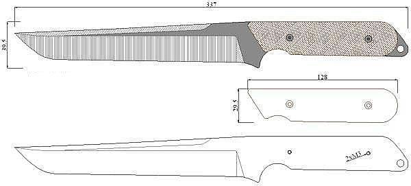 Чертеж ножа Mat-tanto