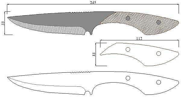 Чертеж ножа Menem-M9