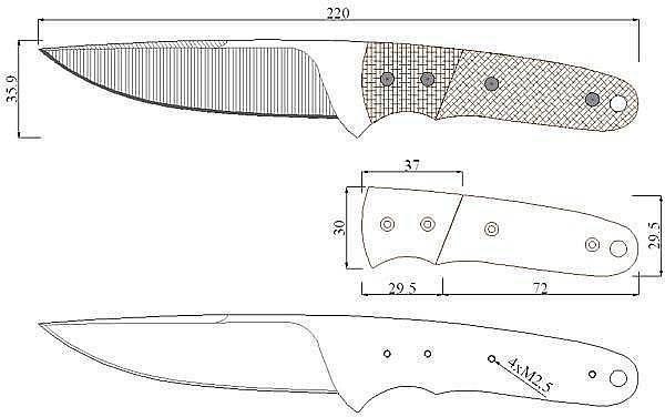 Чертеж ножа Milan Pokorny