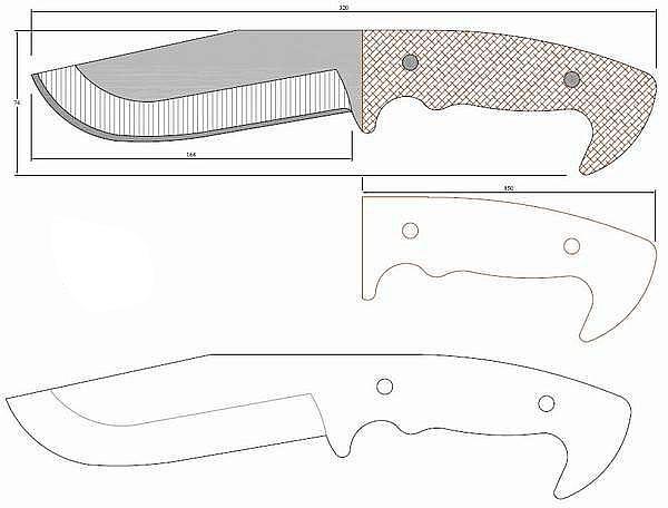 Чертеж ножа Nazov