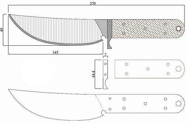 Чертеж ножа Nazov 2