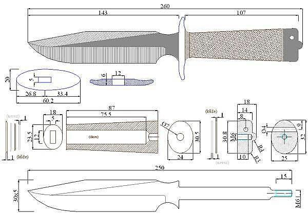 Чертеж ножа Randall 1