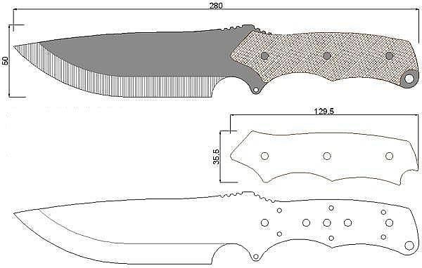 Чертеж ножа Samurai-Vlastni navrh 2