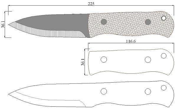 Чертеж ножа Shing-Bushcraft Badger