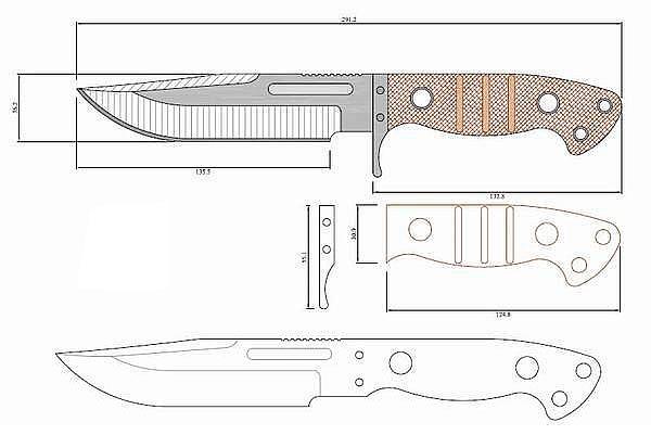 Чертеж ножа Sibert scout