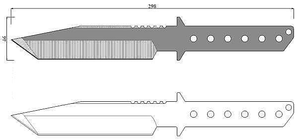 Чертеж ножа Strider BT