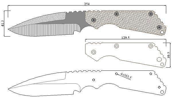 Чертеж ножа Strider CP