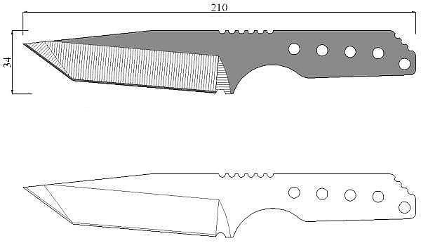 Чертеж ножа Strider DB-L