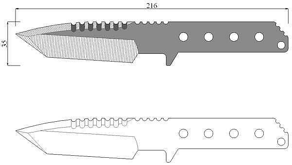 Чертеж ножа Strider HT tanto