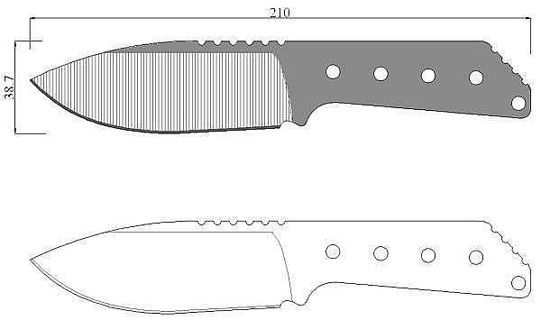 Чертеж ножа Strider MFS
