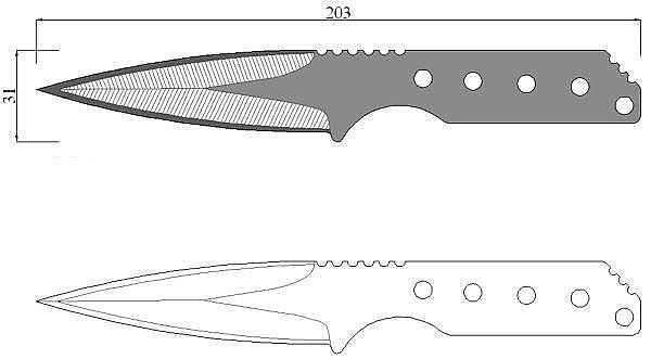 Чертеж ножа Strider MG