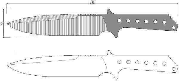 Чертеж ножа Strider MK-1A