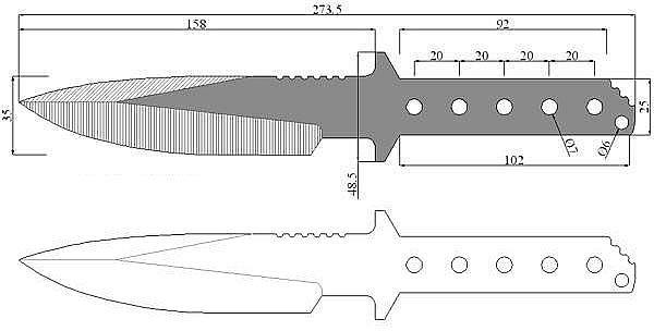 Чертеж ножа Strider-MT 10