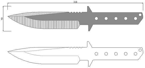 Чертеж ножа Strider MT-L
