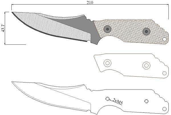 Чертеж ножа Strider MV