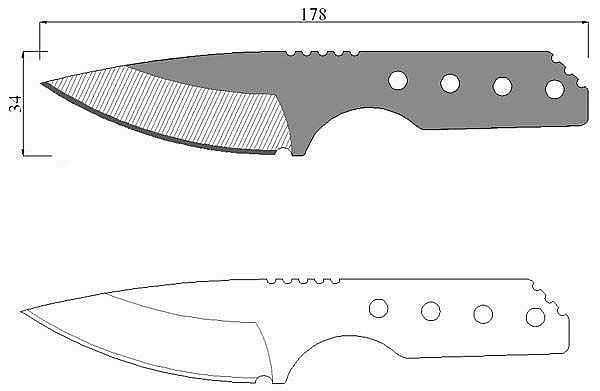Чертеж ножа Strider SA