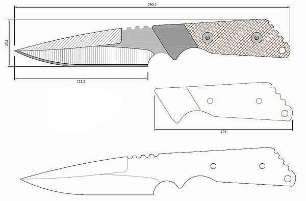 Чертеж ножа Strider_m_custom