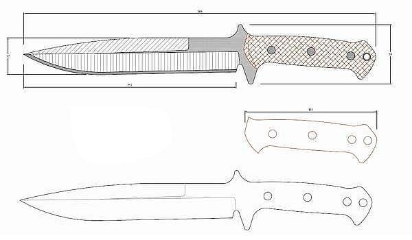 Чертеж ножа T.Krein Boar knife