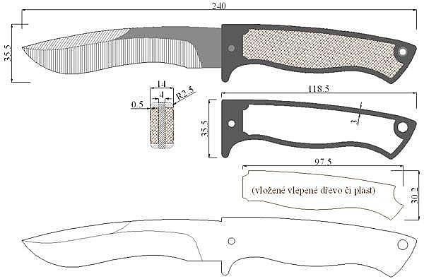 Чертеж ножа Tactical Gurkha