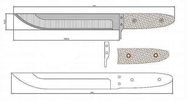 Чертеж ножа Tanto-vlastny navrh