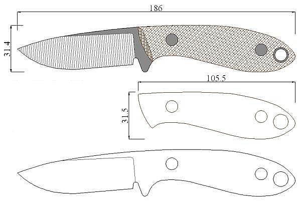 Чертеж ножа Tom Kreim-TK3
