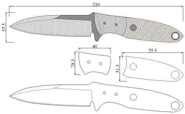 Чертеж ножа Tom Krein-TK8