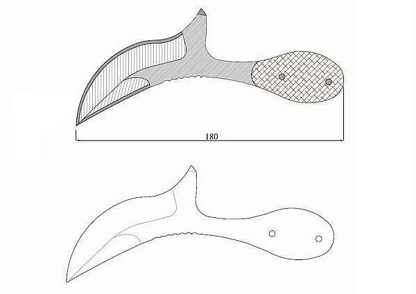 Чертеж ножа TOPS-californian cobra