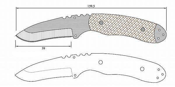 Чертеж ножа Tops cm