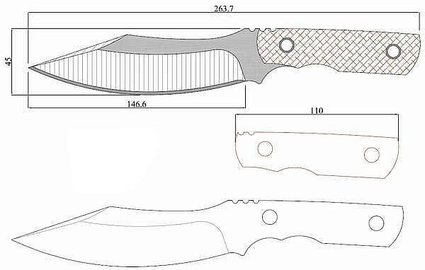 Чертеж ножа VOX bowie